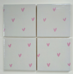 4 Ceramic Coasters in Sophie Allport Mini Hearts